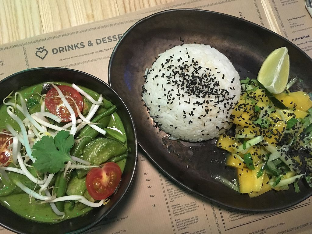 """Photo of Wegeguru  by <a href=""""/members/profile/LivvyCropper"""">LivvyCropper</a> <br/>Green curry with mango and coriander 'salsa' <br/> October 9, 2017  - <a href='/contact/abuse/image/88127/313656'>Report</a>"""