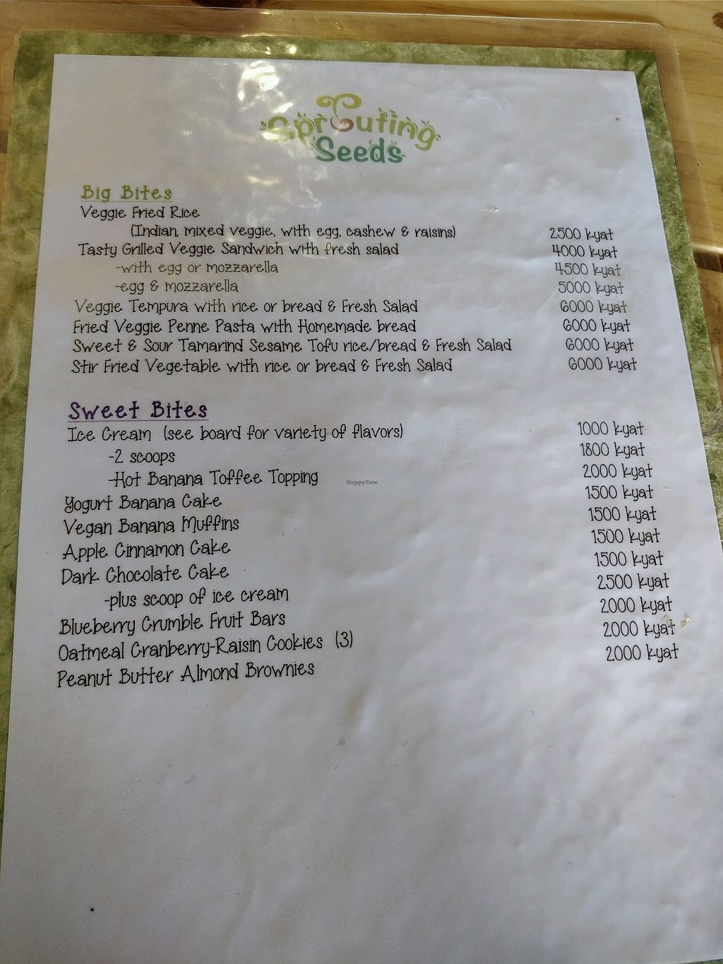 "Photo of Sprouting Seeds Cafe & Bakery  by <a href=""/members/profile/Erikoo"">Erikoo</a> <br/>food menu 1 <br/> February 11, 2018  - <a href='/contact/abuse/image/88133/357907'>Report</a>"