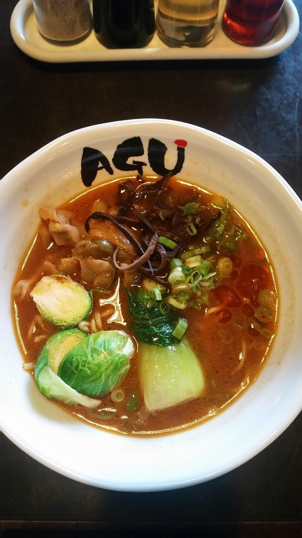 """Photo of Agu Ramen  by <a href=""""/members/profile/alyhans"""">alyhans</a> <br/>Vegetarian ramen: mushrooms, bok choy, brussel sprouts, green onions, ramen noodles, and vegetarian broth <br/> March 6, 2017  - <a href='/contact/abuse/image/88157/233237'>Report</a>"""