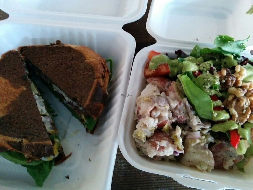 """Photo of The Very Good Butchers  by <a href=""""/members/profile/CLRtraveller"""">CLRtraveller</a> <br/>roast beast sandwich and half potato salad/half wild greens salad <br/> April 15, 2017  - <a href='/contact/abuse/image/88179/248504'>Report</a>"""