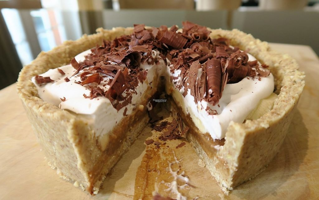 """Photo of Aprils Table  by <a href=""""/members/profile/AprilsTable"""">AprilsTable</a> <br/>Banoffee Pie  Cashew and oat crust filled with banana and date caramel, topped with layers of fresh banana and whipped coconut cream.  Decorated with dark chocolate shavings <br/> March 8, 2017  - <a href='/contact/abuse/image/88193/234166'>Report</a>"""