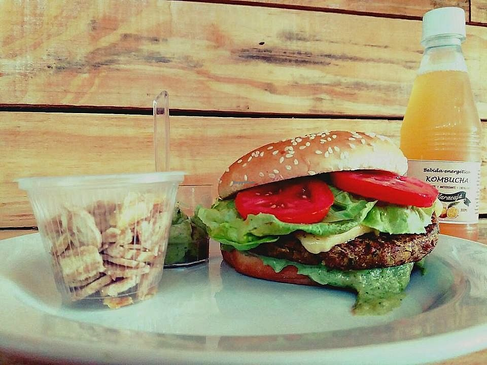 """Photo of Quinoa Real  by <a href=""""/members/profile/GabrielMelo"""">GabrielMelo</a> <br/>Cheesse Vegan Salada Burguer, Kombucha, banana snacks and green vegan mayonnaise <br/> February 3, 2018  - <a href='/contact/abuse/image/88195/354473'>Report</a>"""
