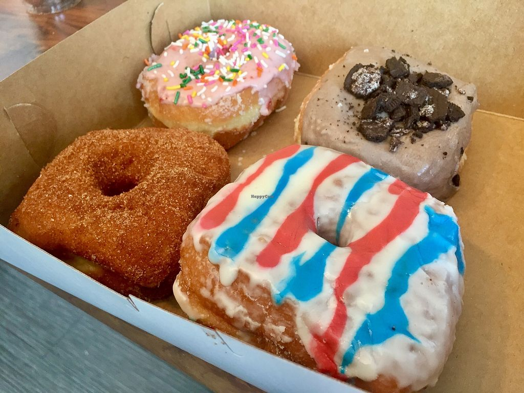 """Photo of Valkyrie Doughnuts  by <a href=""""/members/profile/clovely.vegan"""">clovely.vegan</a> <br/>Strawberry Sprankle, Churro, Cookies and Scream, and 'Murica doughnuts! <br/> July 7, 2017  - <a href='/contact/abuse/image/88307/277346'>Report</a>"""