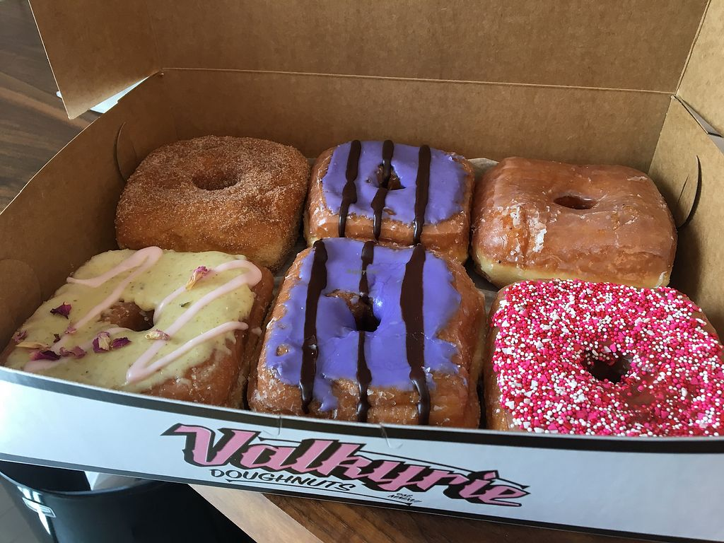 """Photo of Valkyrie Doughnuts  by <a href=""""/members/profile/LilMsVegan"""">LilMsVegan</a> <br/>Whole assortment on Valentine's Day <br/> February 16, 2018  - <a href='/contact/abuse/image/88307/359986'>Report</a>"""