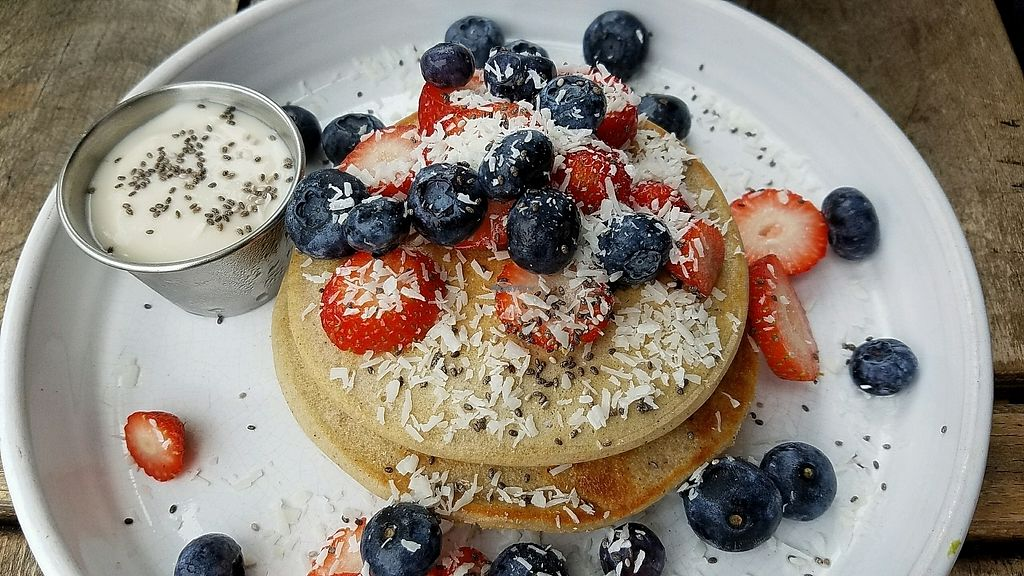 """Photo of The Longhouse Cafe  by <a href=""""/members/profile/eric"""">eric</a> <br/>buckwheat pancake with soya yogurt <br/> October 9, 2017  - <a href='/contact/abuse/image/88383/313579'>Report</a>"""