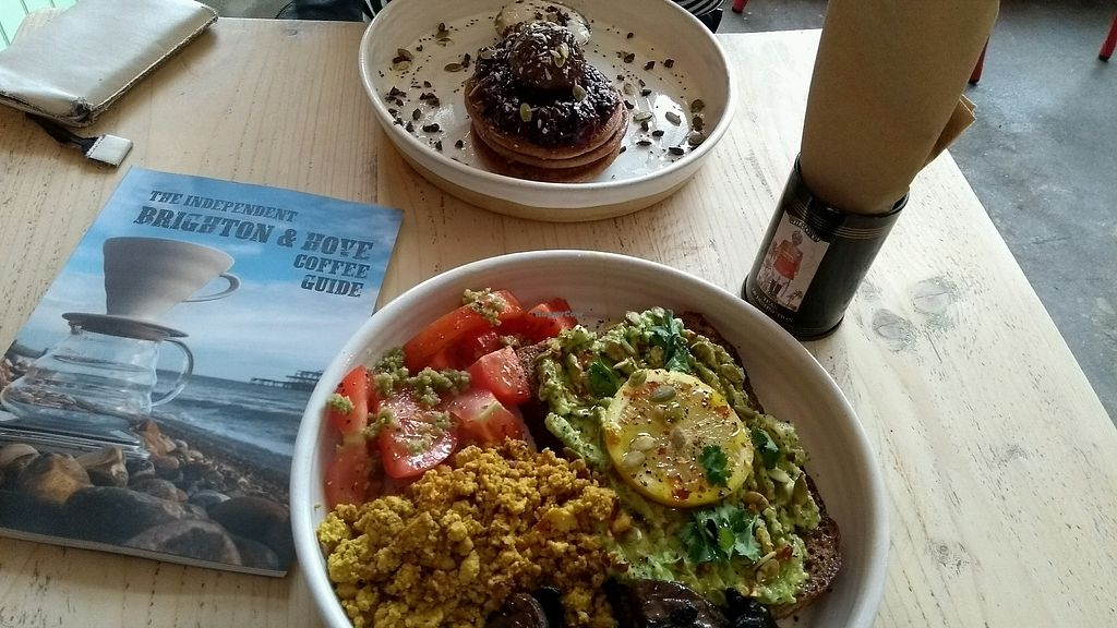 """Photo of The Longhouse Cafe  by <a href=""""/members/profile/StephenEamonn"""">StephenEamonn</a> <br/>Full breakfast and buckwheat pancakes <br/> March 24, 2018  - <a href='/contact/abuse/image/88383/375562'>Report</a>"""