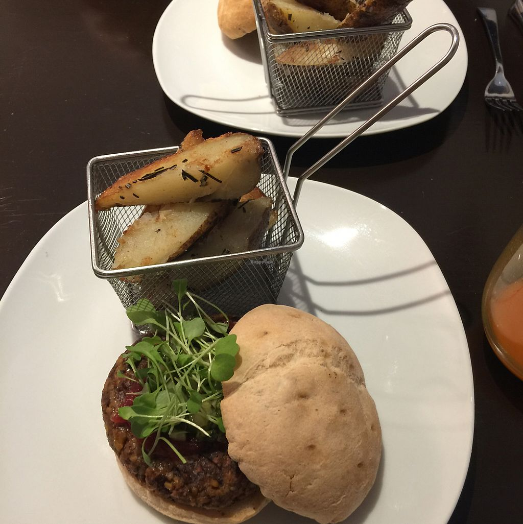 """Photo of CLOSED: Solasta Foods  by <a href=""""/members/profile/hunterlr"""">hunterlr</a> <br/>black bean burger with rosemary potato wedges <br/> May 28, 2017  - <a href='/contact/abuse/image/88402/263218'>Report</a>"""