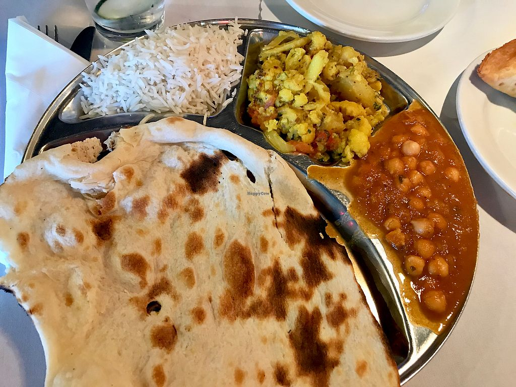 """Photo of Malhi's Indian Cuisine  by <a href=""""/members/profile/LoneCrone"""">LoneCrone</a> <br/>Naan Gobi Aloo Chana Masala <br/> July 29, 2017  - <a href='/contact/abuse/image/88404/286035'>Report</a>"""
