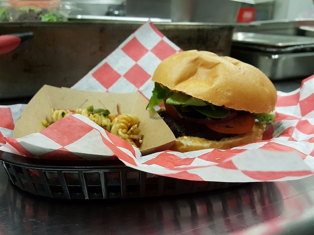 """Photo of Natural Selections Cafe  by <a href=""""/members/profile/DavidaHarris"""">DavidaHarris</a> <br/>House made black bean burger with chipotle sauce. Served with a side of pasta salad! <br/> March 13, 2017  - <a href='/contact/abuse/image/88434/235970'>Report</a>"""