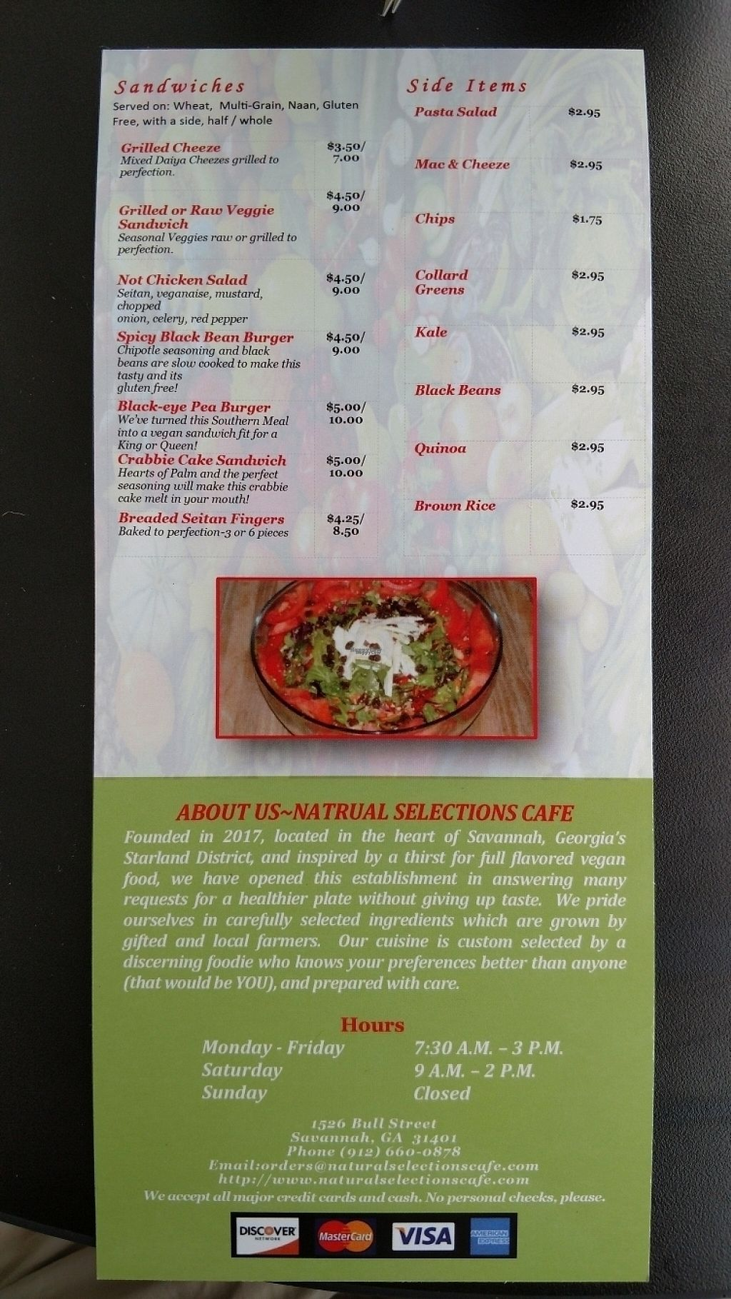 """Photo of Natural Selections Cafe  by <a href=""""/members/profile/nathanb"""">nathanb</a> <br/>Menu <br/> March 25, 2017  - <a href='/contact/abuse/image/88434/240850'>Report</a>"""