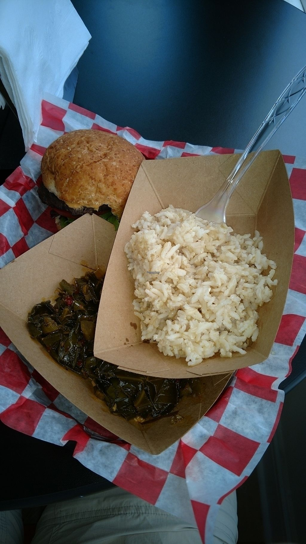 """Photo of Natural Selections Cafe  by <a href=""""/members/profile/nathanb"""">nathanb</a> <br/>1/2 Black Bean Burger, collards and brown rice <br/> March 25, 2017  - <a href='/contact/abuse/image/88434/240852'>Report</a>"""