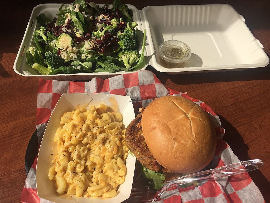 """Photo of Natural Selections Cafe  by <a href=""""/members/profile/VeganPeaceFreak"""">VeganPeaceFreak</a> <br/>Power Kale Salad and Crabbie Cake with Mac and Cheeze side <br/> October 7, 2017  - <a href='/contact/abuse/image/88434/312520'>Report</a>"""