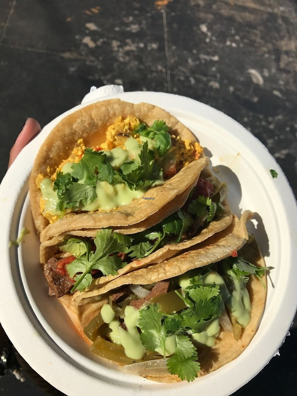 "Photo of Mi Vegana Madre - Food Truck  by <a href=""/members/profile/Tigra220"">Tigra220</a> <br/>breakfast taco assortment from the farmer's market <br/> March 11, 2017  - <a href='/contact/abuse/image/88440/235054'>Report</a>"