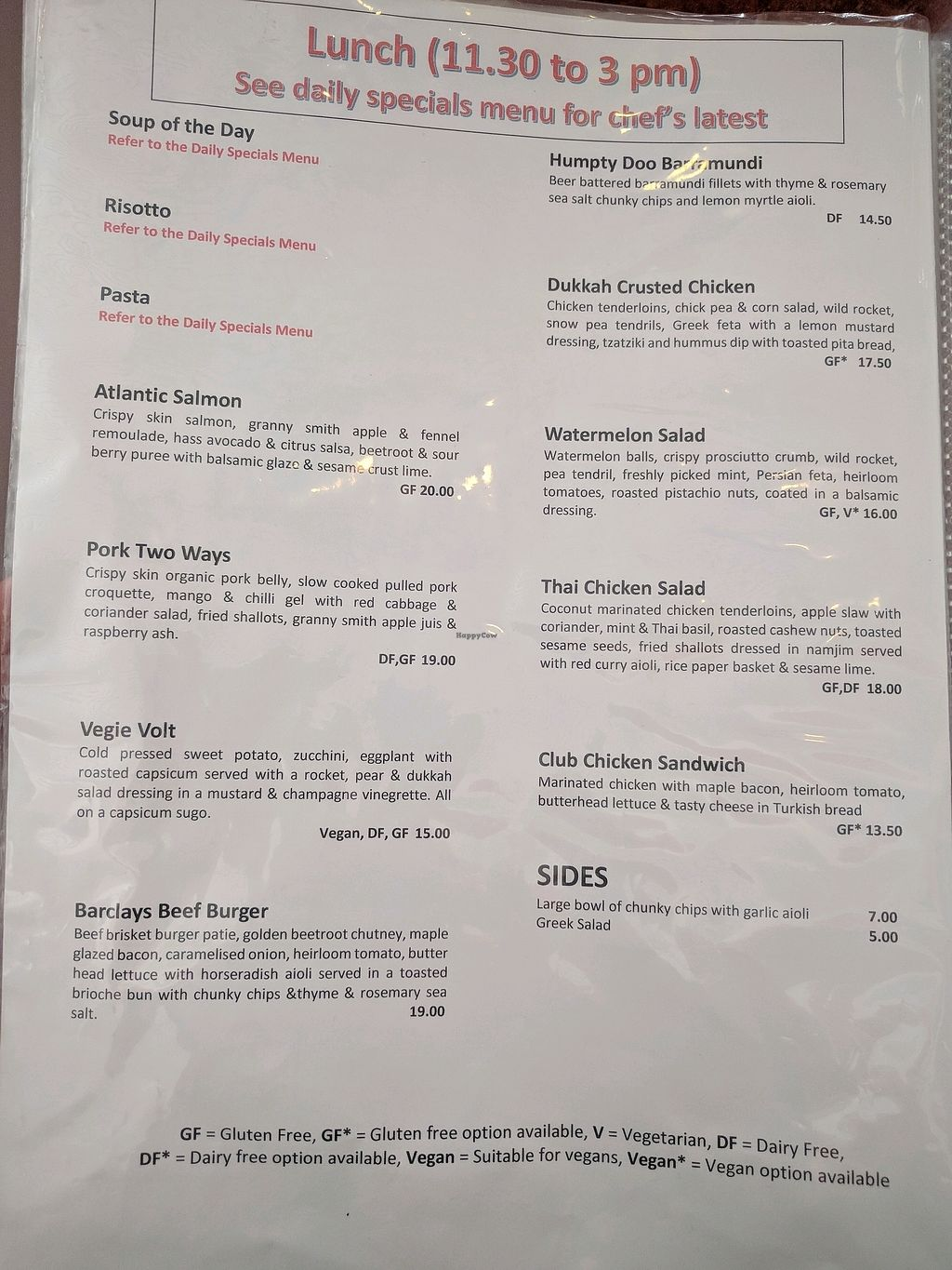"Photo of Barclays Cafe  by <a href=""/members/profile/wildeyedgirl"">wildeyedgirl</a> <br/>not many options are actually listed as vegan on the menu, but more can be made vegan by omission <br/> March 1, 2018  - <a href='/contact/abuse/image/88458/365540'>Report</a>"