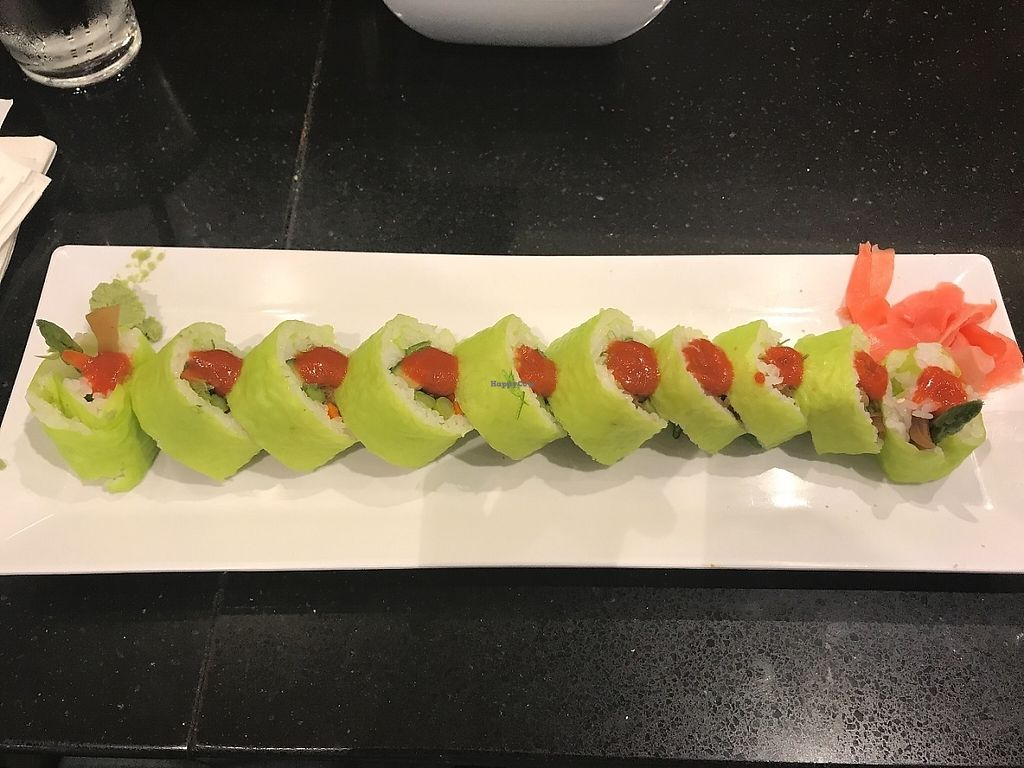 """Photo of Umaizushi - Atlanta Airport  by <a href=""""/members/profile/NR105176"""">NR105176</a> <br/>This was their Special Veggie Roll. I was honestly worried that it wouldn't be good after having the Sushi at the completely vegan Sushi Restaurant """"Beyond Sushi"""" (which was AMAZING) but I was pleasantly surprised with this. It was really good. Not quite on the level of Beyond Sushi but very satisfying and still delicious. I asked for sriracha, it's not there by default. $13 <br/> June 1, 2017  - <a href='/contact/abuse/image/88472/264677'>Report</a>"""