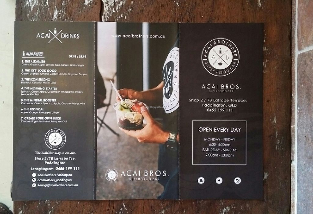 "Photo of Acai Brothers  by <a href=""/members/profile/Mike%20Munsie"">Mike Munsie</a> <br/>menu 1 <br/> May 2, 2017  - <a href='/contact/abuse/image/88499/254874'>Report</a>"
