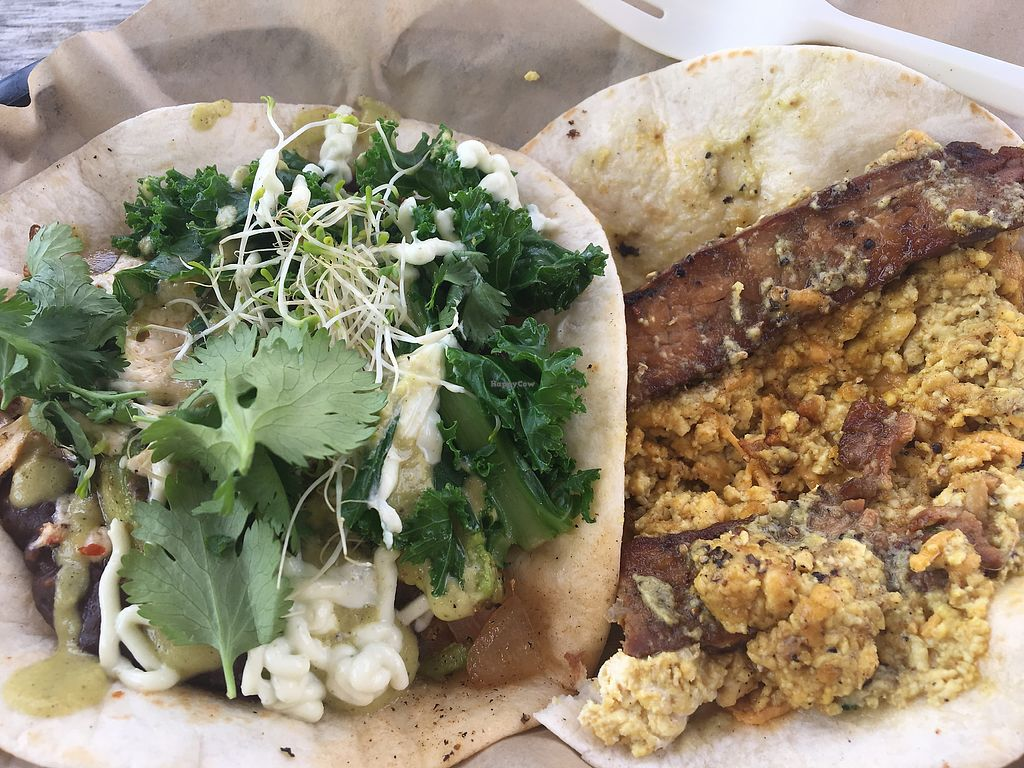 """Photo of The Vegan Nom Food Truck - E Cesar Chavez   by <a href=""""/members/profile/LeahLinJones"""">LeahLinJones</a> <br/>Avocado Real and tofu scramble w/ tempeh bacon.  <br/> July 1, 2017  - <a href='/contact/abuse/image/88511/275738'>Report</a>"""
