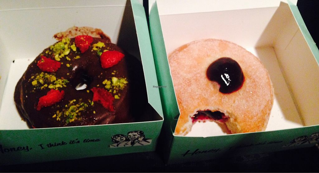 """Photo of CLOSED: Doughnut Time - Albert St  by <a href=""""/members/profile/NirvanaRoseWilliams"""">NirvanaRoseWilliams</a> <br/>Vegan jam donut and chocolate raspberry  <br/> June 22, 2017  - <a href='/contact/abuse/image/88520/272013'>Report</a>"""