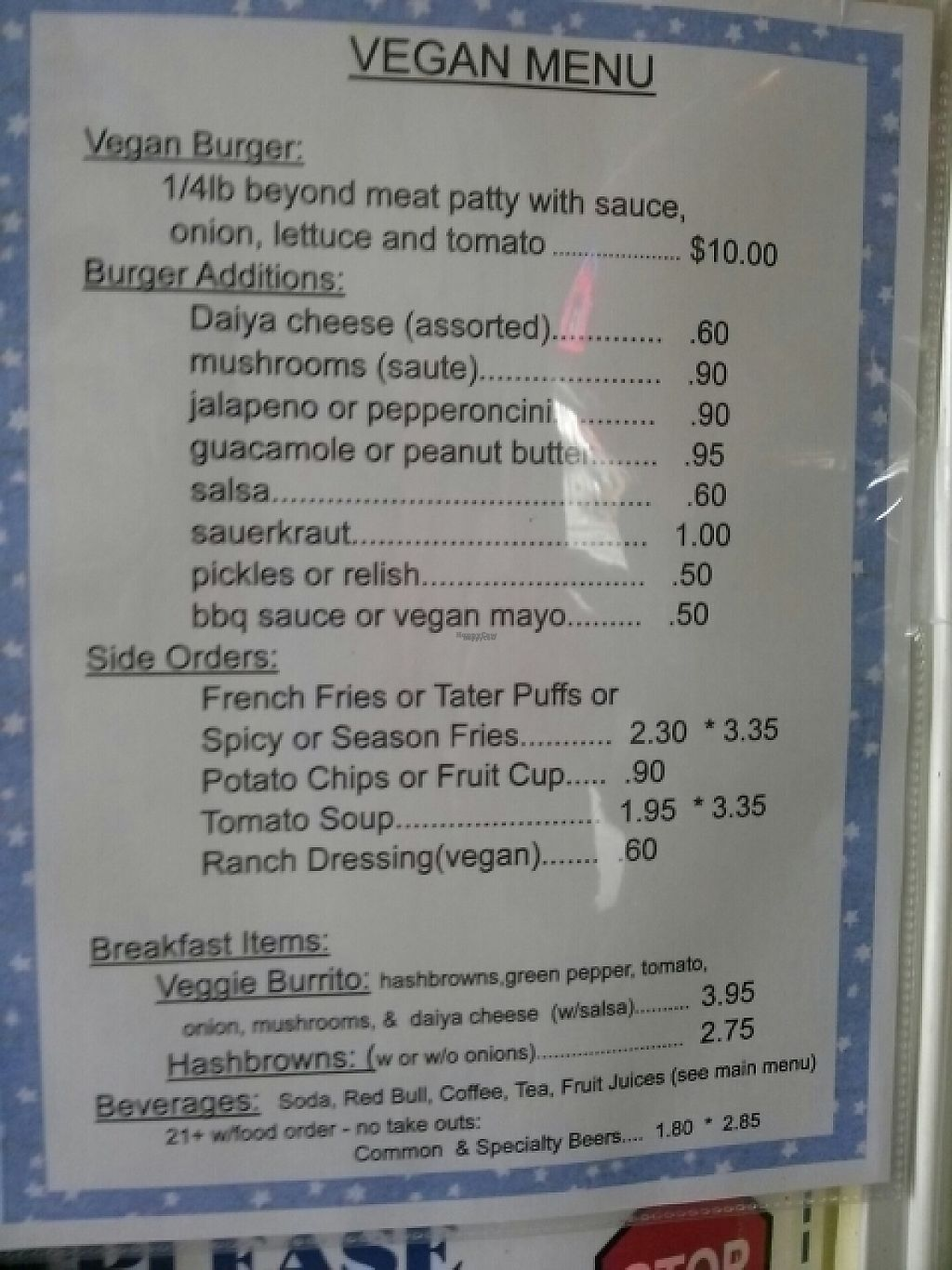 """Photo of Jim Dandy Restaurant   by <a href=""""/members/profile/Shanimal"""">Shanimal</a> <br/>Vegan menu (4/6/17) <br/> April 6, 2017  - <a href='/contact/abuse/image/88562/245282'>Report</a>"""