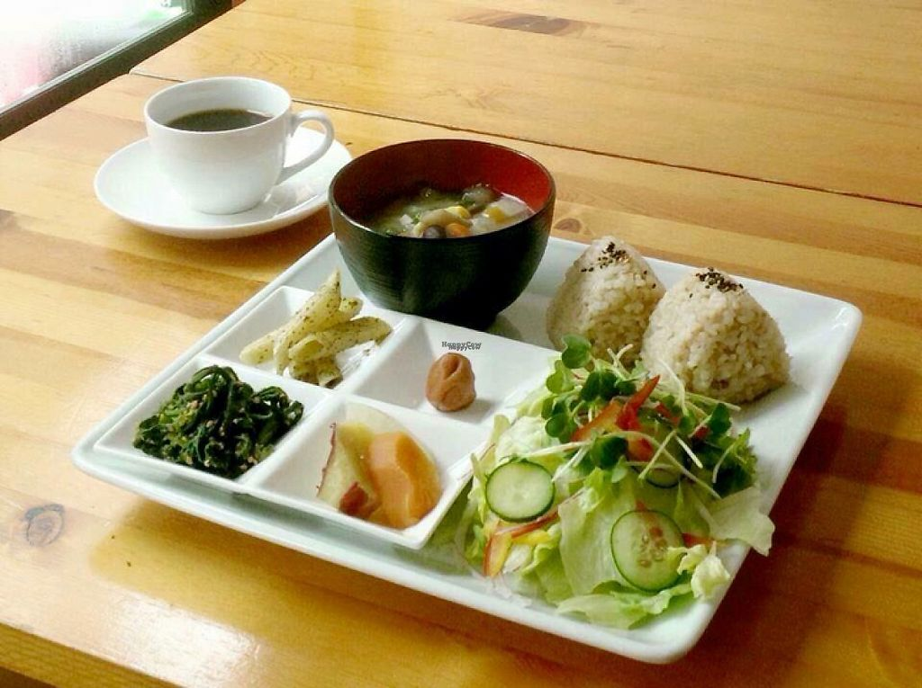 """Photo of Nobister  by <a href=""""/members/profile/Juri"""">Juri</a> <br/>Vegan combo w/rice balls   Brown rice balls, salad , 4 seasonal side dishes and vegetable miso soup <br/> March 25, 2017  - <a href='/contact/abuse/image/88623/240906'>Report</a>"""