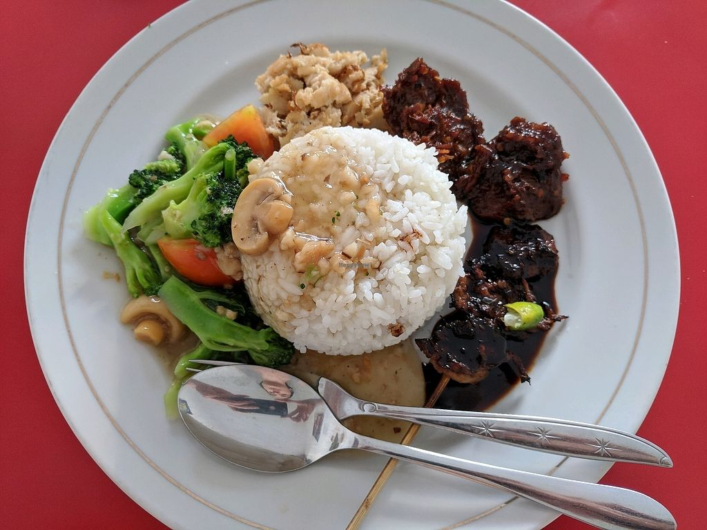 """Photo of Alay Vegetarian  by <a href=""""/members/profile/Toprak"""">Toprak</a> <br/>Steamed rice, brocoli with mushroom and some mock meat <br/> April 9, 2018  - <a href='/contact/abuse/image/88630/382847'>Report</a>"""