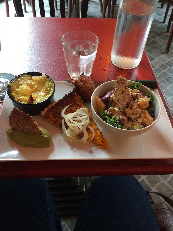 "Photo of Au Nouveau Monde  by <a href=""/members/profile/sabrinajh"">sabrinajh</a> <br/>Vegan plate of the day.  Sweet potato tartine, vegan chorizo, a kind of scalloped potatoes, guacomole, and a kale salad with melon.  <br/> November 1, 2017  - <a href='/contact/abuse/image/88646/320760'>Report</a>"