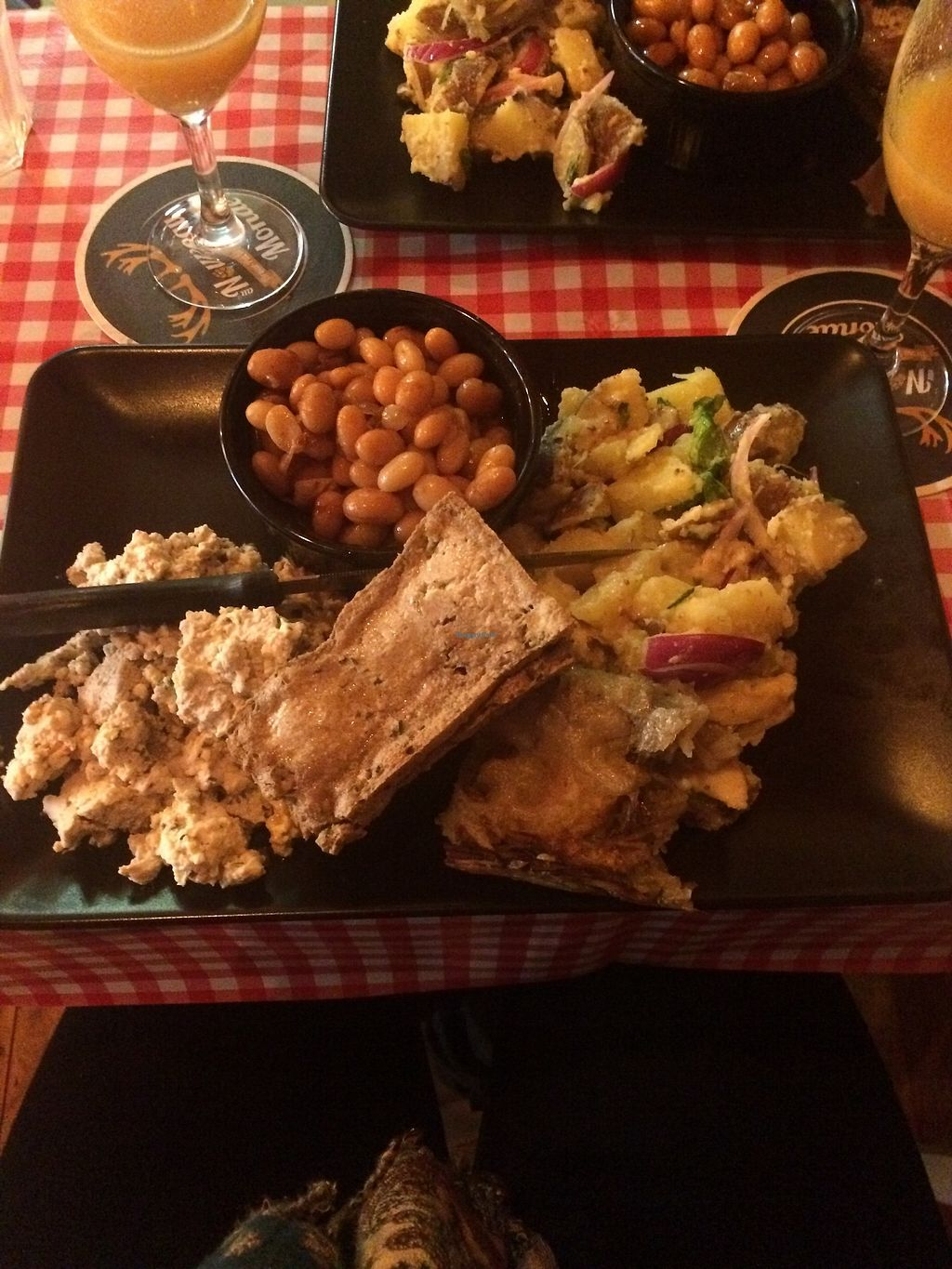 """Photo of Au Nouveau Monde  by <a href=""""/members/profile/sabrinajh"""">sabrinajh</a> <br/>On Sunday they offer an amazing brunch - this is the savoury plate. Tofu scramble, potato salad, fried tofu, beans in a maple syrup sauce. AMAZING! <br/> March 10, 2018  - <a href='/contact/abuse/image/88646/368933'>Report</a>"""