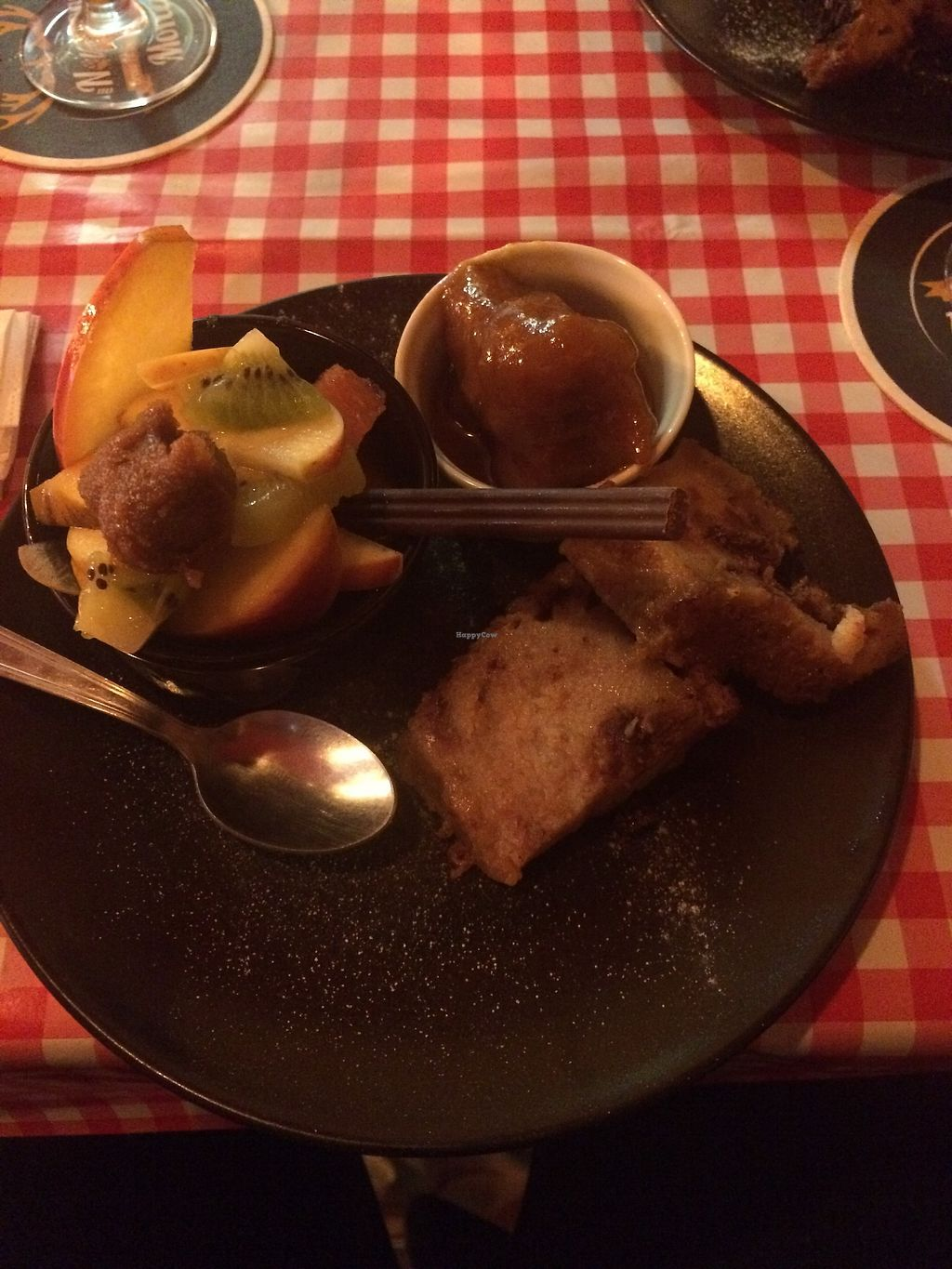 """Photo of Au Nouveau Monde  by <a href=""""/members/profile/sabrinajh"""">sabrinajh</a> <br/>Sunday brunch - sweet plate. Fried dumplings in maple syrup sauce, fruit salad, french toast. DELICIOUS! <br/> March 10, 2018  - <a href='/contact/abuse/image/88646/368934'>Report</a>"""