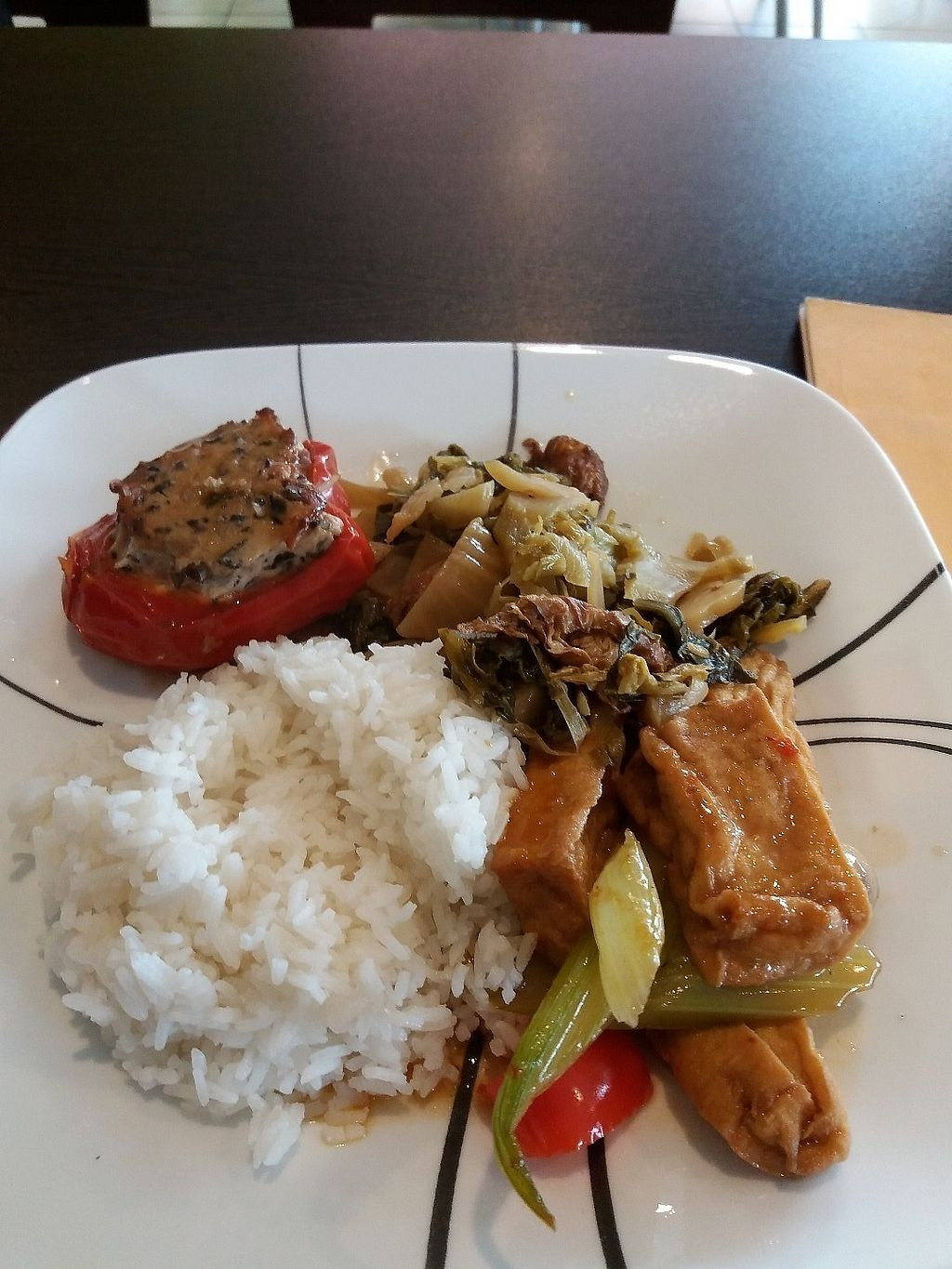 """Photo of Bo De Tam Nha Hang Chay  by <a href=""""/members/profile/veganvirtues"""">veganvirtues</a> <br/>My rice and 3 veggies <br/> June 15, 2017  - <a href='/contact/abuse/image/88688/269276'>Report</a>"""
