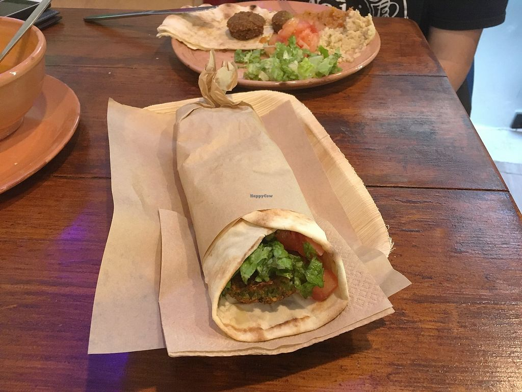 """Photo of The Chickpea  by <a href=""""/members/profile/Alina%26Deian"""">Alina&Deian</a> <br/>Falafel wrap and open plate <br/> February 16, 2018  - <a href='/contact/abuse/image/88689/360029'>Report</a>"""