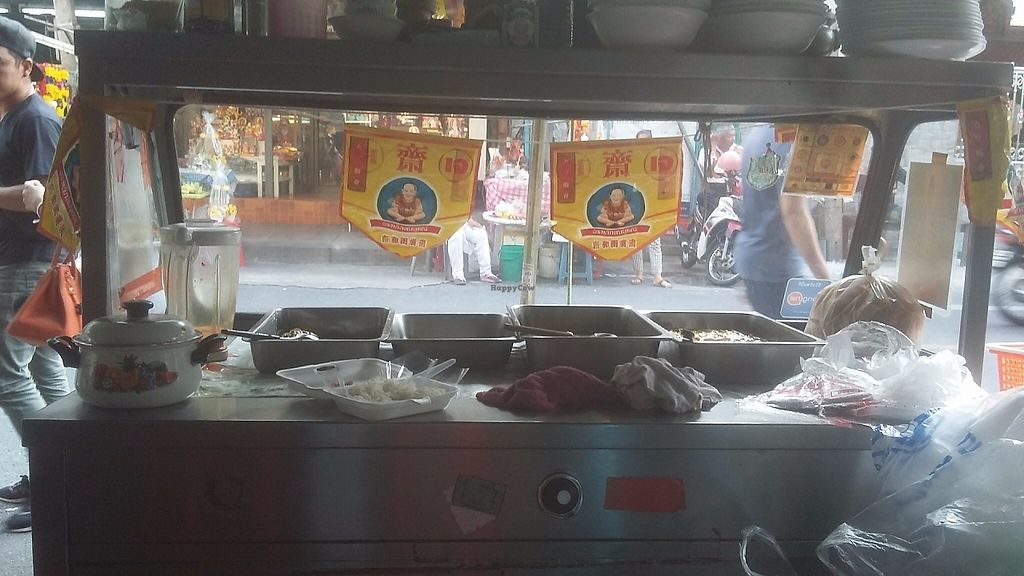 """Photo of Pan Road - Vegan Food Cart  by <a href=""""/members/profile/samlowry"""">samlowry</a> <br/>""""Kin jay"""" (""""Vegan"""" in Thai) flags as seen from the table <br/> May 30, 2017  - <a href='/contact/abuse/image/88695/264229'>Report</a>"""