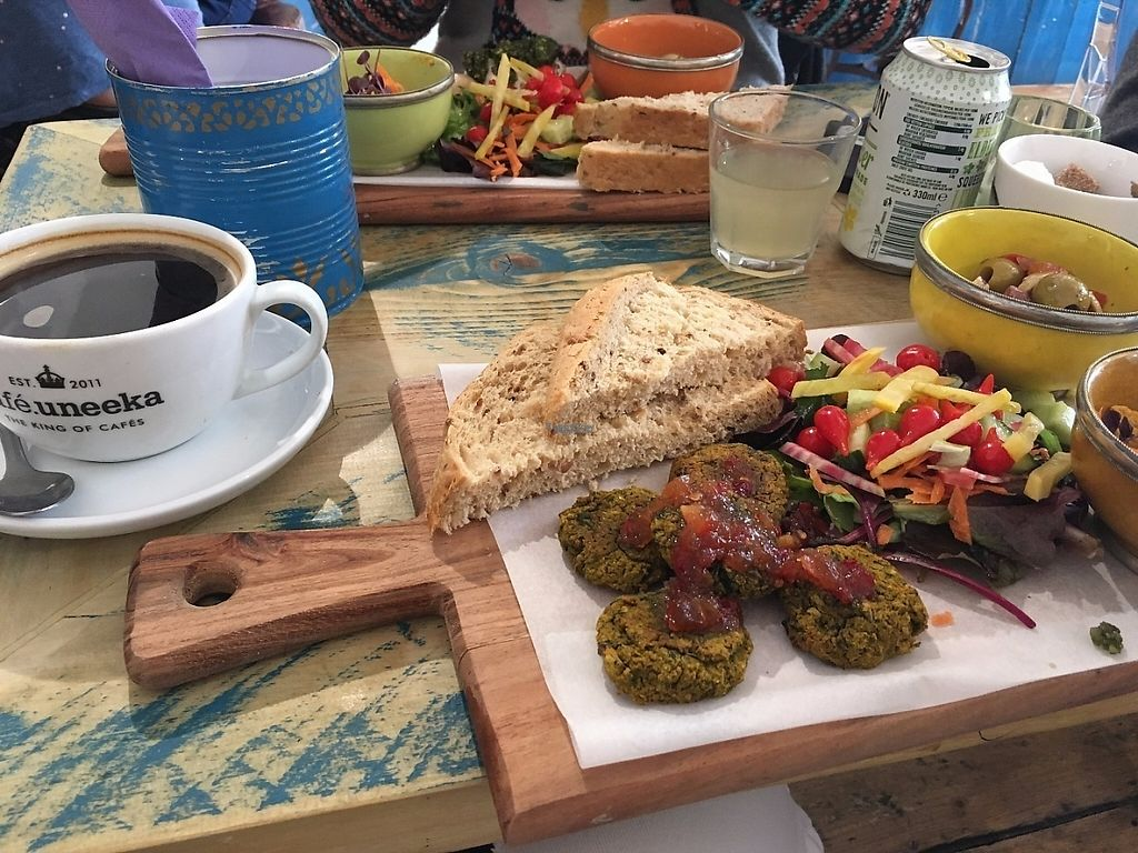 """Photo of Cafe Uneeka  by <a href=""""/members/profile/ImogenB"""">ImogenB</a> <br/>Vegan falafel mezze platter (worth it for the chilli jam alone) <br/> March 15, 2017  - <a href='/contact/abuse/image/88704/236785'>Report</a>"""