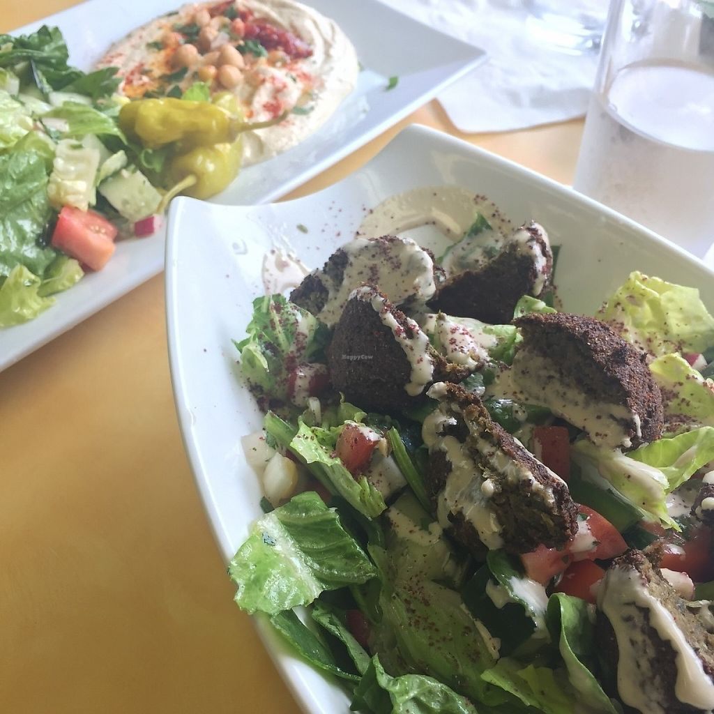 """Photo of McBani Authentic Lebanese Cuisine  by <a href=""""/members/profile/KimMiles"""">KimMiles</a> <br/>Lunch today - Hummus Platter and Falafel Salad <br/> May 28, 2017  - <a href='/contact/abuse/image/88727/263575'>Report</a>"""