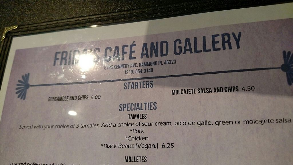 """Photo of Frida's Cafe  by <a href=""""/members/profile/RosieTheVegan"""">RosieTheVegan</a> <br/>Menu <br/> May 10, 2017  - <a href='/contact/abuse/image/88806/257498'>Report</a>"""