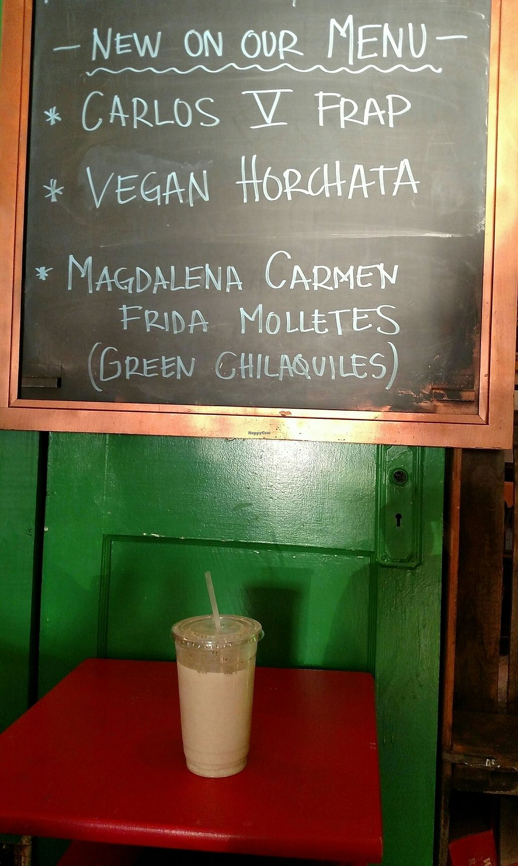 """Photo of Frida's Cafe  by <a href=""""/members/profile/RosieTheVegan"""">RosieTheVegan</a> <br/>Vegan Horchata!!! <br/> August 9, 2017  - <a href='/contact/abuse/image/88806/290632'>Report</a>"""