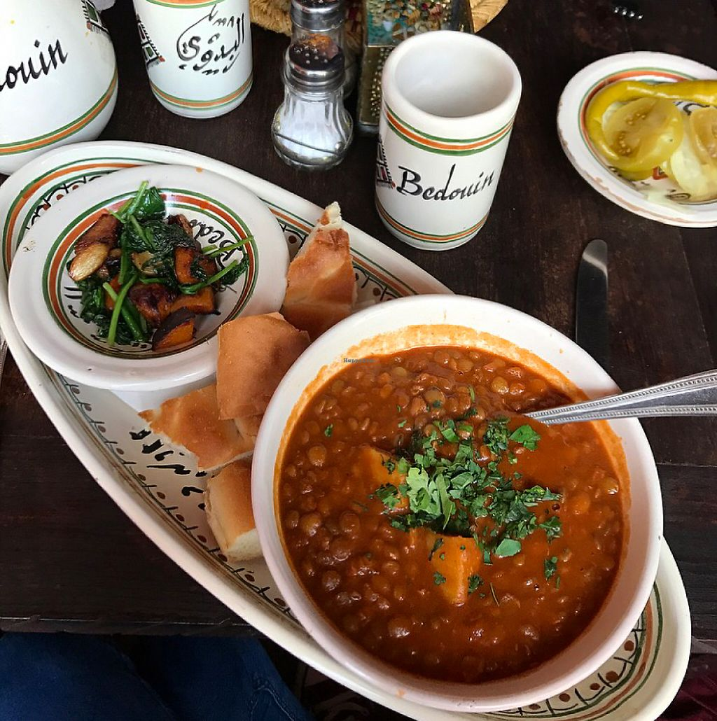"""Photo of Bedouin  by <a href=""""/members/profile/bethanmariehill"""">bethanmariehill</a> <br/>Adress Dziria- green lentil and vegetable stew served with sautéed baby spinach and roasted butternut squash and garlic. Served tagine bread <br/> May 6, 2017  - <a href='/contact/abuse/image/88843/256253'>Report</a>"""