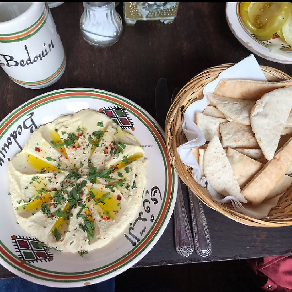 """Photo of Bedouin  by <a href=""""/members/profile/bethanmariehill"""">bethanmariehill</a> <br/>Vegan Humus Bel Laham (ordered without lamb)- served with pitta bread   <br/> May 6, 2017  - <a href='/contact/abuse/image/88843/322995'>Report</a>"""