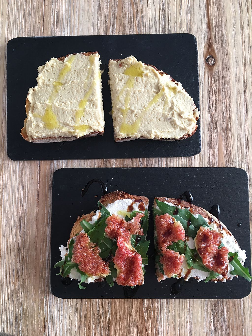 "Photo of Dall'Albero  by <a href=""/members/profile/Traveling.Plant_Eater"">Traveling.Plant_Eater</a> <br/>Hummus Bruschetta and Fig Bruschetta  <br/> July 31, 2017  - <a href='/contact/abuse/image/88850/287154'>Report</a>"