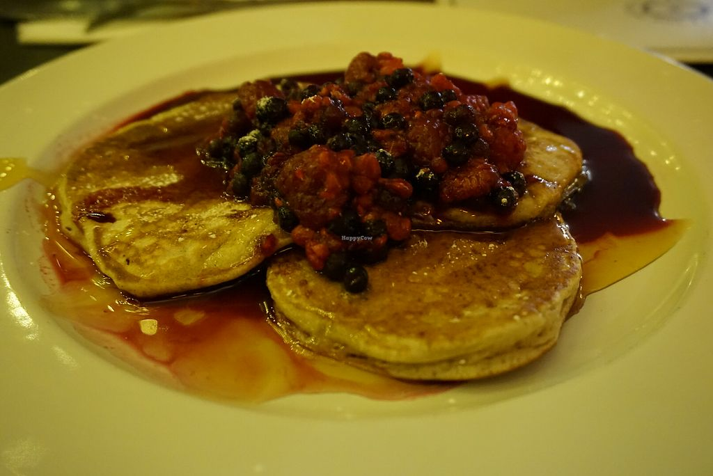 "Photo of The Fat Cyclist Cafe  by <a href=""/members/profile/angdep"">angdep</a> <br/>Vegan pancakes with berries and maple syrup  <br/> December 30, 2017  - <a href='/contact/abuse/image/88862/341056'>Report</a>"