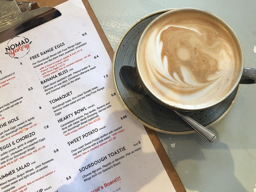 "Photo of Nomad Bakery  by <a href=""/members/profile/Anjuli"">Anjuli</a> <br/>Almond latte and some of Nomad Bakery's current menu (July 2017) <br/> July 30, 2017  - <a href='/contact/abuse/image/88873/286847'>Report</a>"