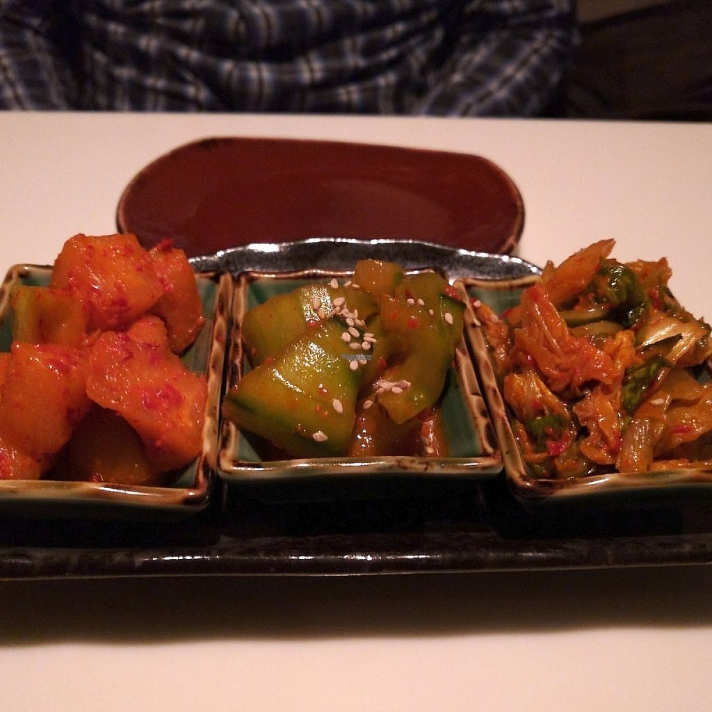 """Photo of Slurping Turtle  by <a href=""""/members/profile/makemenervous"""">makemenervous</a> <br/>Trio of vegetarian kimchi <br/> March 20, 2017  - <a href='/contact/abuse/image/88876/238826'>Report</a>"""