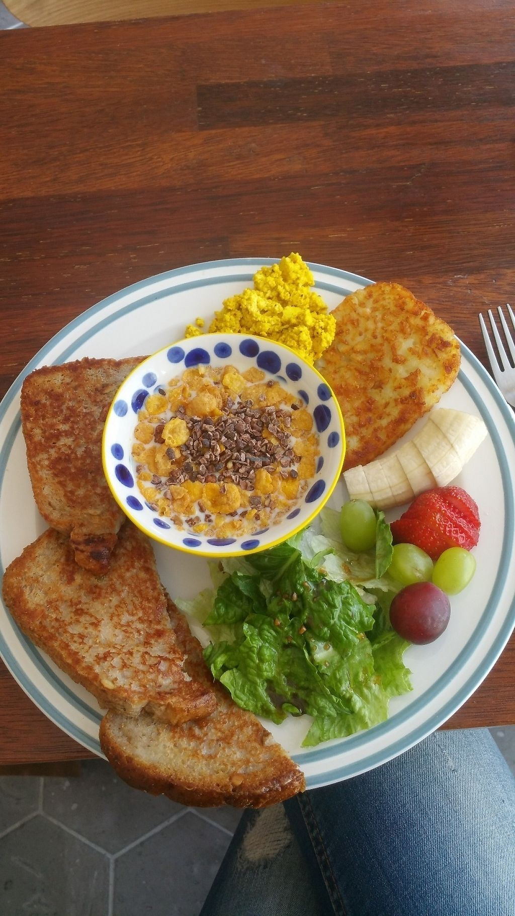 """Photo of Around Green - 어라운드 그린  by <a href=""""/members/profile/Olabusi"""">Olabusi</a> <br/>Tofu scramble, cereals, toast, salad <br/> April 10, 2017  - <a href='/contact/abuse/image/88897/246643'>Report</a>"""
