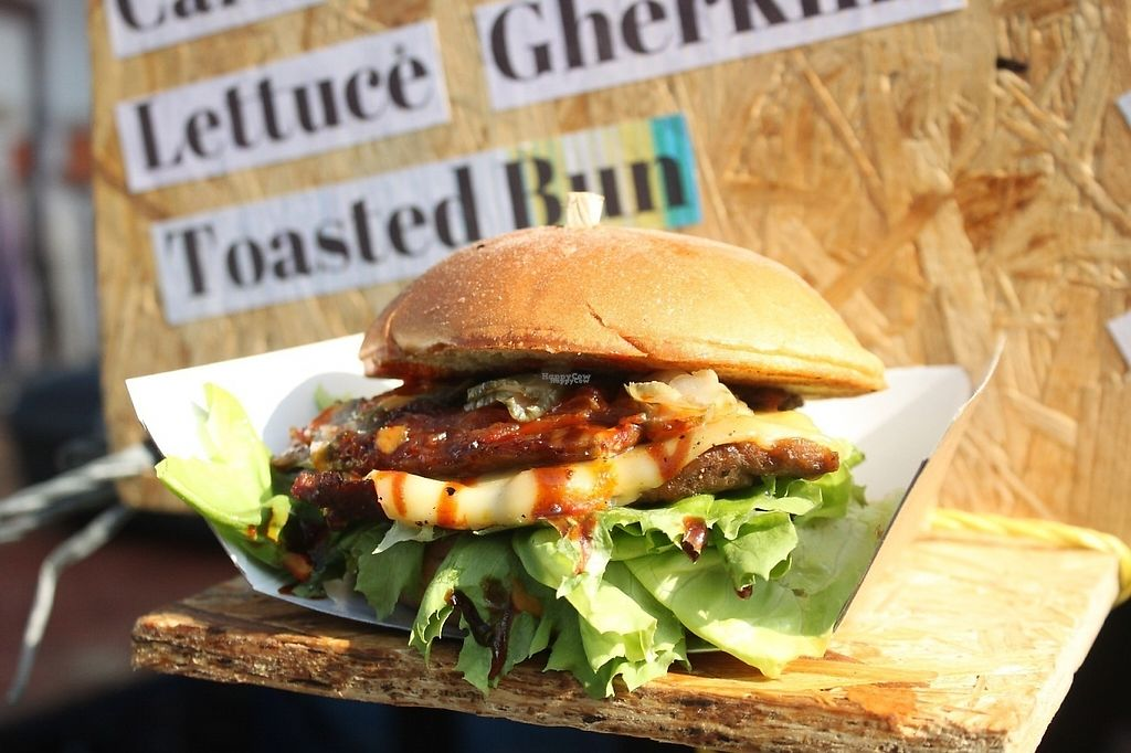 """Photo of Jake's Vegan Steaks - Food Stall  by <a href=""""/members/profile/charclothier"""">charclothier</a> <br/>Jake Vegan Steak display burger <br/> April 16, 2017  - <a href='/contact/abuse/image/88936/248865'>Report</a>"""