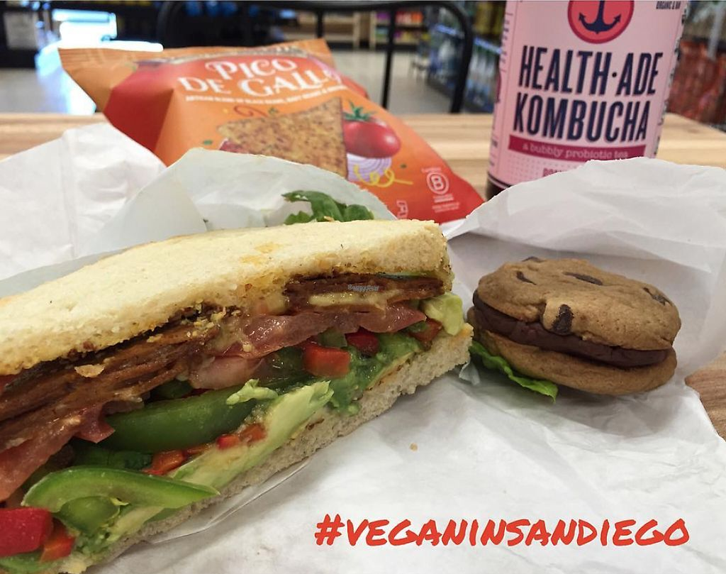 """Photo of Mission Square Market Vegan Deli  by <a href=""""/members/profile/veganinsandiego"""">veganinsandiego</a> <br/>Build-your-own vegan sandwich: sourdough, provolone, Tofurky pepperoni <br/> April 3, 2017  - <a href='/contact/abuse/image/88946/244244'>Report</a>"""
