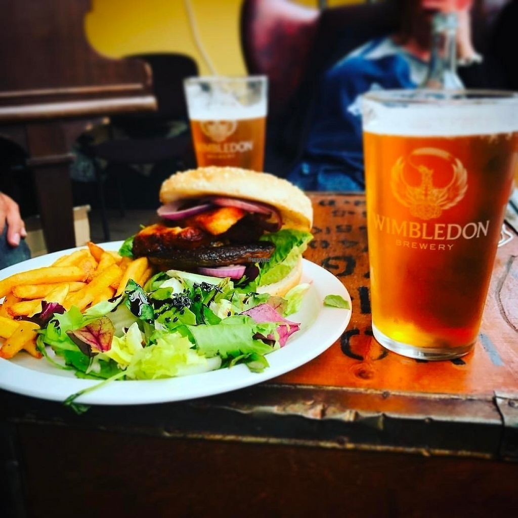 """Photo of CLOSED: The Sound Lounge  by <a href=""""/members/profile/HannahWhiterthanwhite"""">HannahWhiterthanwhite</a> <br/>Mushroom & Halloumi Burger with chips and salad <br/> March 21, 2017  - <a href='/contact/abuse/image/88969/239231'>Report</a>"""