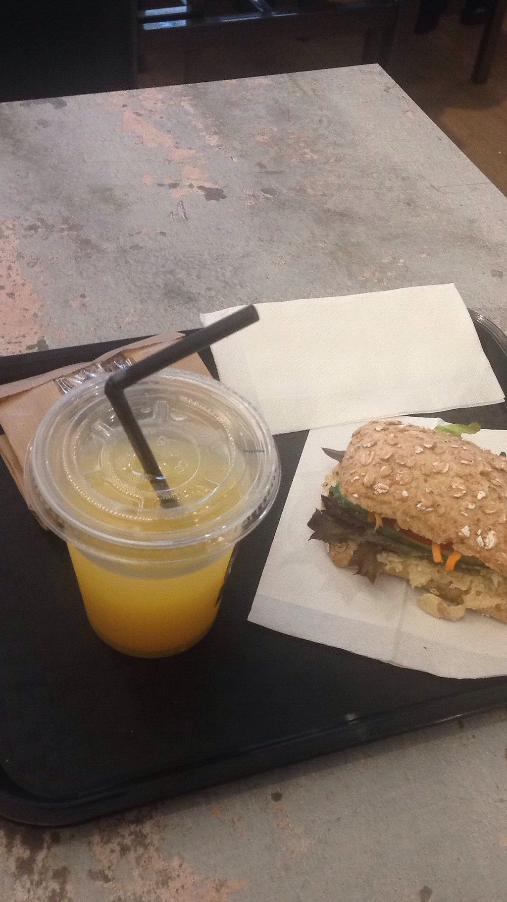 """Photo of Organic Foodbar  by <a href=""""/members/profile/Cakerino"""">Cakerino</a> <br/>Freshly squeezed juice, samdwich, 'kokosmacroon' : 10euros <br/> August 26, 2017  - <a href='/contact/abuse/image/88982/297415'>Report</a>"""