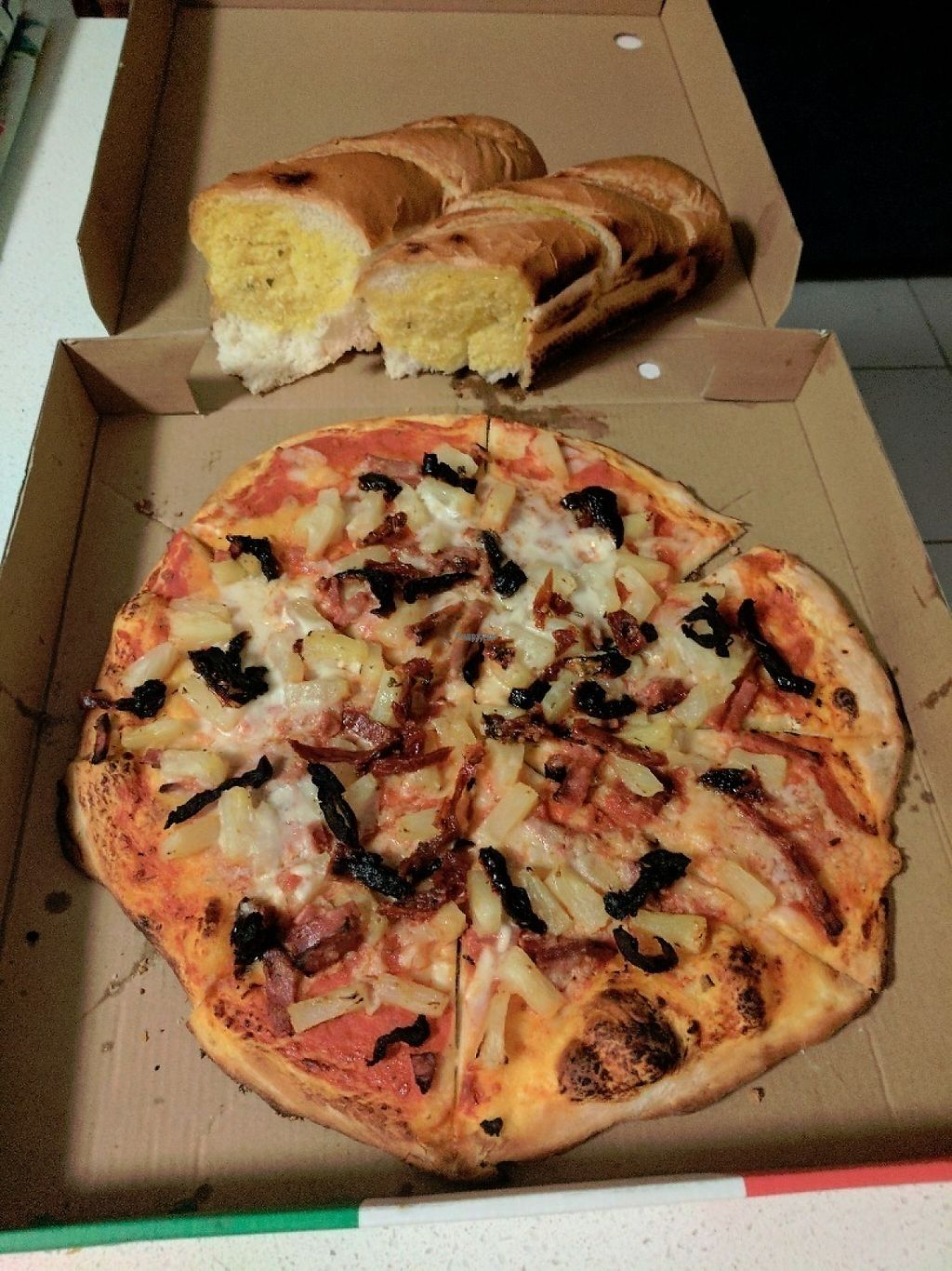 """Photo of Frank's Pizza Coffee & More  by <a href=""""/members/profile/tjn1992"""">tjn1992</a> <br/>Ham and Pinapple Pizza with Sundried Tomatoes & Vegan Garlic Bread <br/> March 22, 2017  - <a href='/contact/abuse/image/88993/239380'>Report</a>"""
