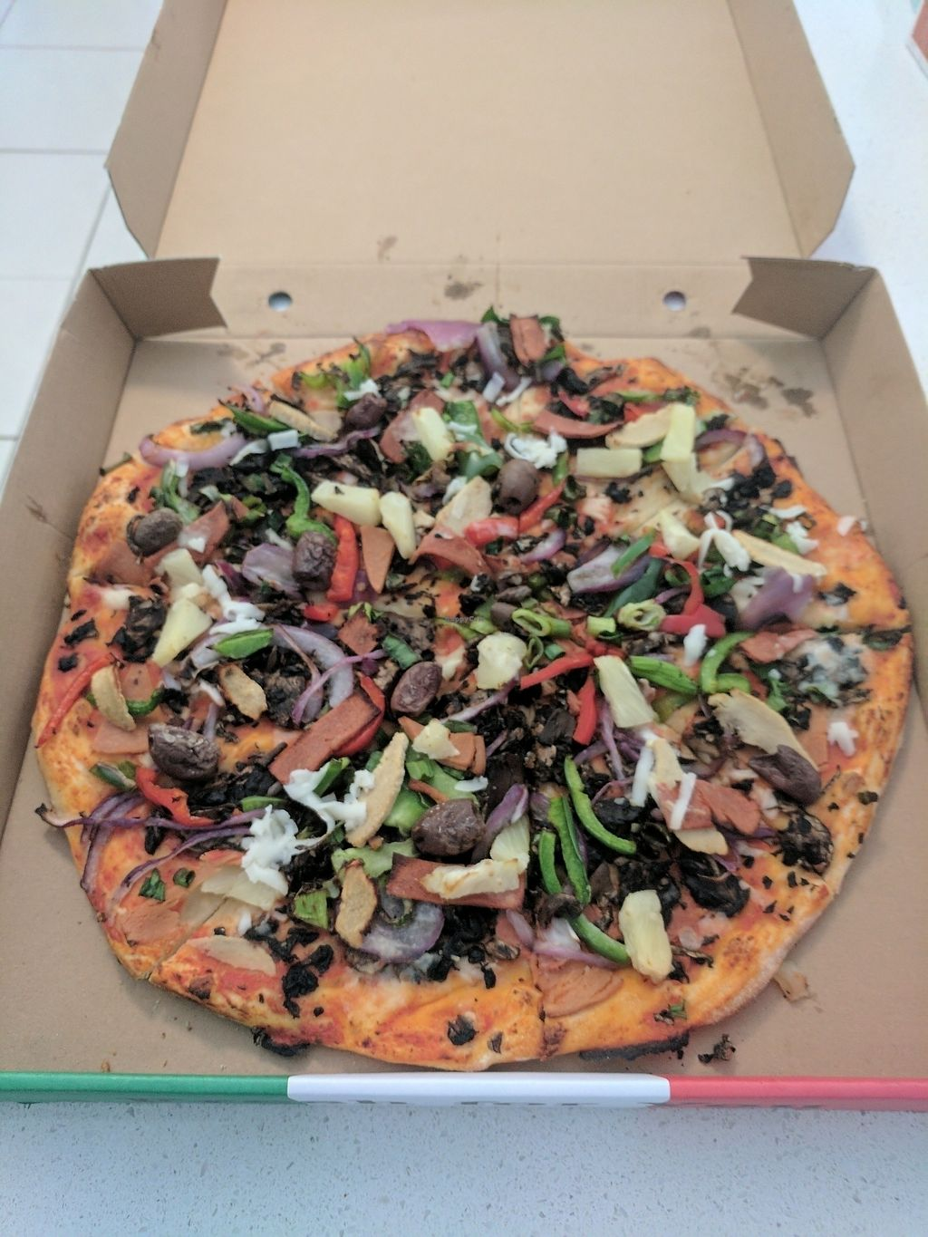 """Photo of Frank's Pizza Coffee & More  by <a href=""""/members/profile/tjn1992"""">tjn1992</a> <br/>Vegan Supreme <br/> July 7, 2017  - <a href='/contact/abuse/image/88993/277360'>Report</a>"""