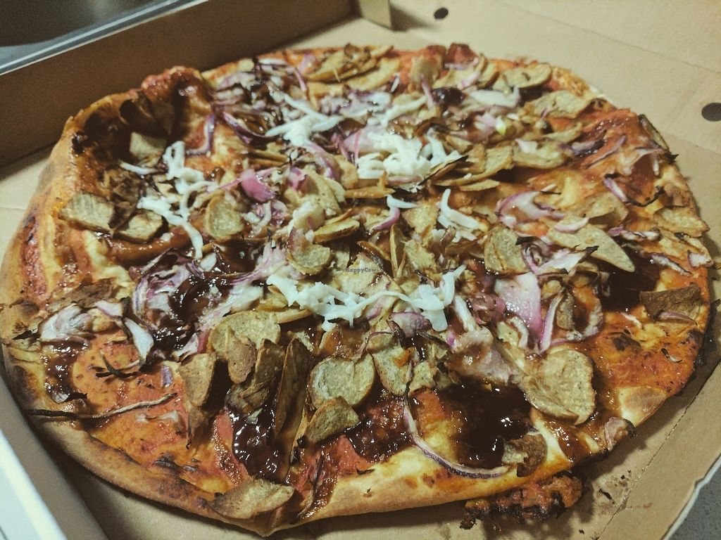"""Photo of Frank's Pizza Coffee & More  by <a href=""""/members/profile/tjn1992"""">tjn1992</a> <br/>Vegan BBQ Chicken Pizza  <br/> July 21, 2017  - <a href='/contact/abuse/image/88993/283034'>Report</a>"""
