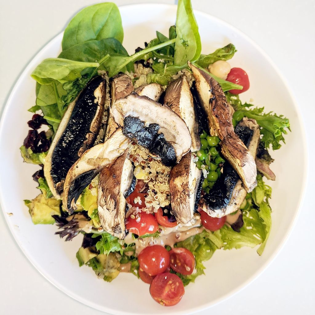 "Photo of ProteinHouse  by <a href=""/members/profile/Mtndarilia"">Mtndarilia</a> <br/>PH Vegan Mixed Salad - grilled portobello mushroom, quinoa, cherry tomatoes, chickpeas and cranberries over spring mix and spinach with avocado and raspberry vinaigrette.   <br/> September 12, 2017  - <a href='/contact/abuse/image/89065/303784'>Report</a>"